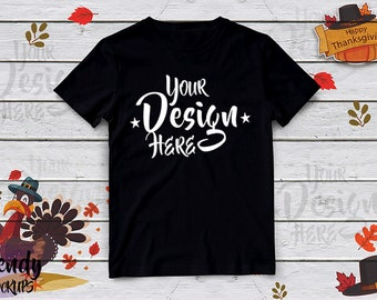 Download Free Thanksgiving Tshirt Mockup, Black Unisex TShirt Mockup, TShirt Mockup, Thanksgiving Mockup, Fall Mockup, Tshirt design, Fall Shirt, Turkey PSD Template