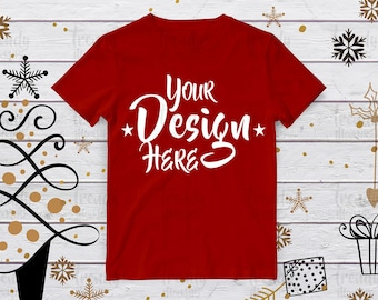 Download Free Christmas red tshirt mockup, Winter tshirt, Winter mockup, Tshirt Mockup, Red Unisex Tshirt Mockup, Tshirt design, Mockup tshirt PSD Template