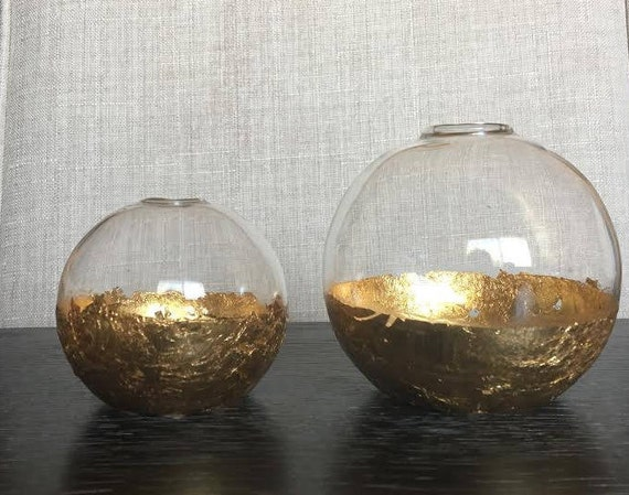 Gold Leaf Vase Globe Vase Large And Small Etsy