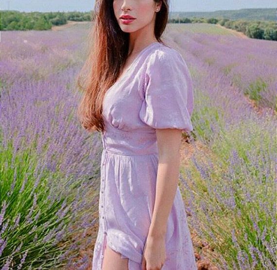 dress Lavender coloured painted Linen washed linen Lavender dress dress dress dress and woman Summer hand Linen 8dxqSwFz