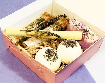 eb0f0470 Bath Bomb, Bath Salt, Soy Candle, Natural Soap, Birthday, Wedding Gift Set,  Vegan, Wellness, SPA, Beauty, Lavender Chamomile Vetiver Oils