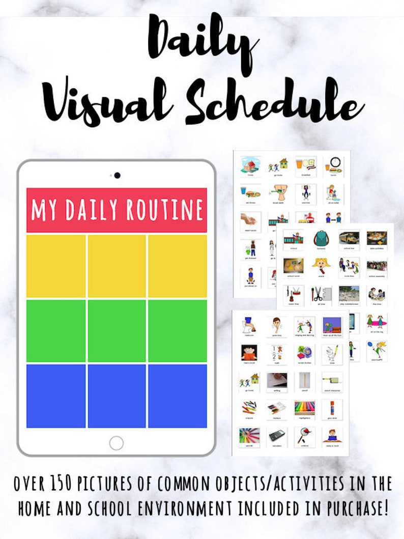 graphic relating to Visual Schedule Printable known as Each day Visible Program Playing cards [PRINTABLE] Visible Can help for Practices Manage and Autism