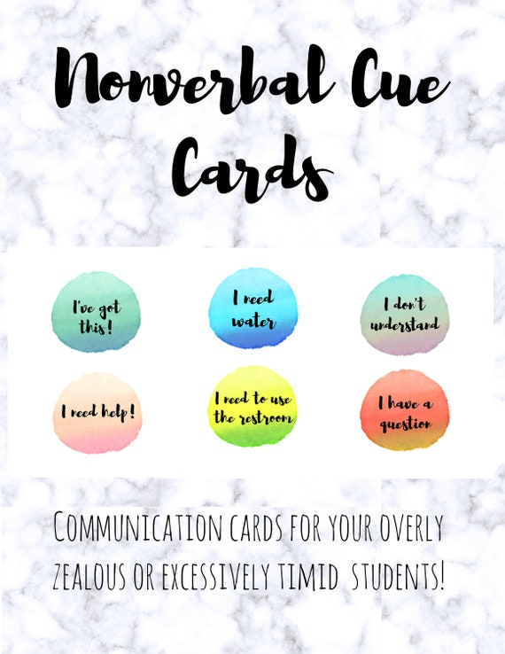 Nonverbal Communication Cards Printable Watercolor Cards For Etsy