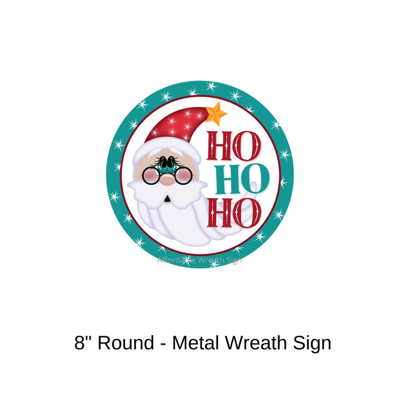 HO HO HO Santa with Spectacles Round Metal Wreath Sign image 0