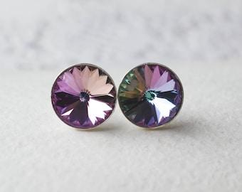 Silver earrings with Swarovski Vitrail Light