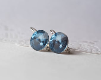 Silver earrings with Swarovski crystal Montana