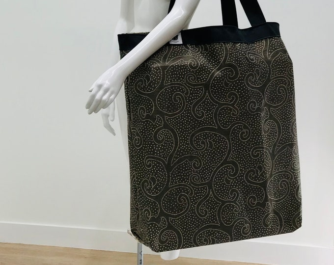 Extra Large Yoga Mat Bag | Brown & Bronze Print Fabric | Heavy Duty | Over-size Yoga Equipment Bag | Washable Yoga Bag | Yoga Prop Storage