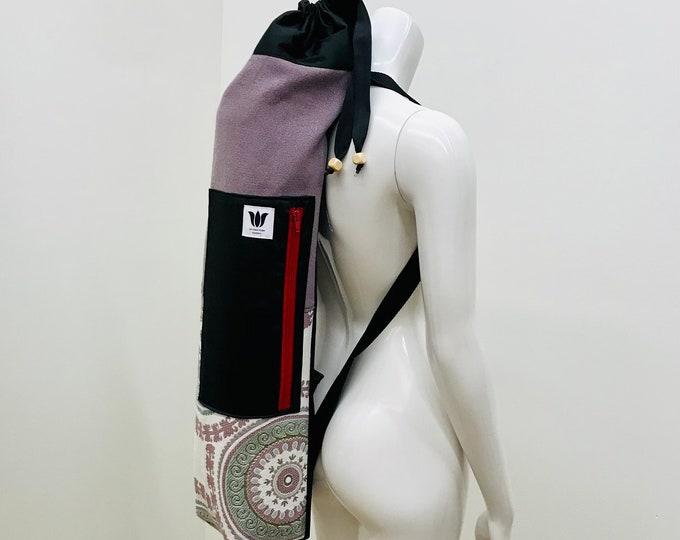 Purple Yoga Mat Bag, Boho Mandala Print, Side Zip Closure, Top Load with Drawstring, Soft Side Pocket, Adjustable Backpack Straps,Yoga Bag