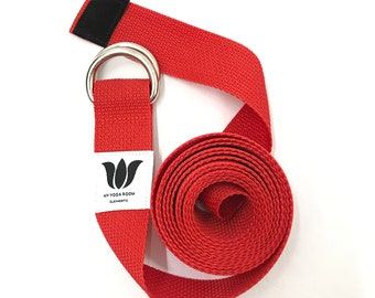 """Yoga Strap, 9 Foot Length, 1 1/2"""" Wide, Easy Adjust Heavy Gauge D Rings, RED, Soft Non-Slip, 22 mm Thickness, Stretch Strap, Made in Canada"""