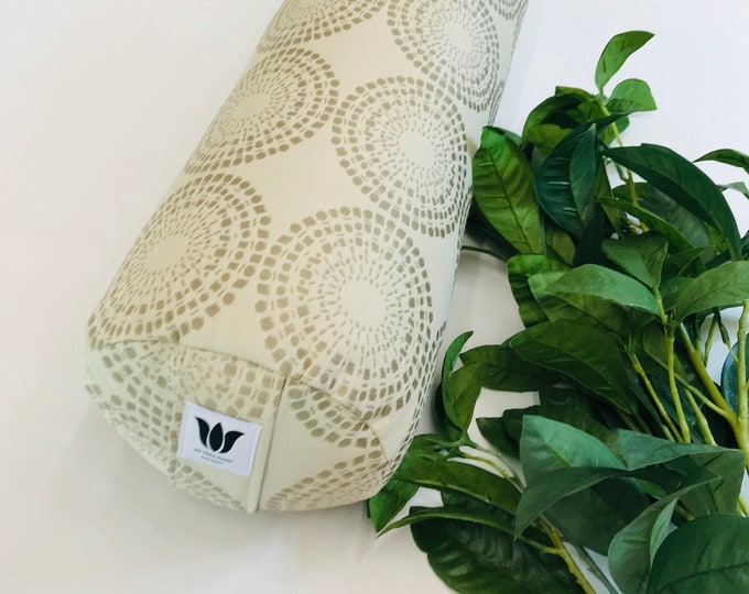 Yoga Bolster, Modern Graphic Print, Durable Fabric, Removeable Cover, Washable, Yoga Studio Prop, Firm Yoga Body Support, Made in Canada