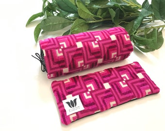 LUXURY GIFT SET | Neck Roll & Eye Pillow | Pink Plush Black Satin | Yoga Practice | Warm or Cold Pack | Self Care | Spa Gift Set | UnSCENTED