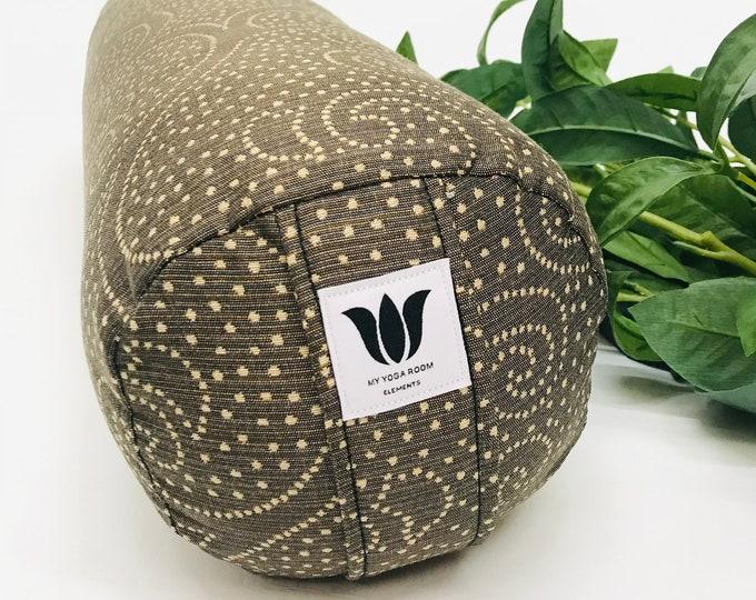 Round YOGA BOLSTER, Brown Swirl Print, Restorative Pillow, Yoga Room Decor, Yoga Cushion, Yoga Prop, Durable Removable Washable Cover