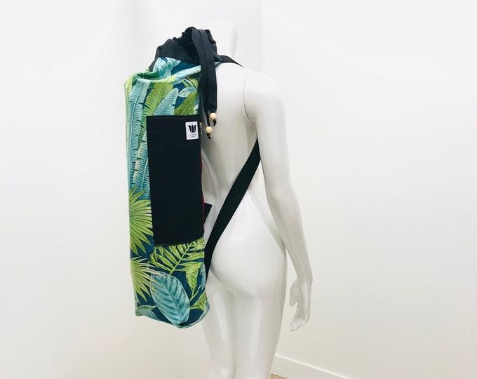 Yoga Mat Bag, Green Tropical Leaf, Fits Wide Yoga Mats, Side Zipper Opening, Top Loading Bag, Drawstring Bag, Side Pocket, Adjustable Strap