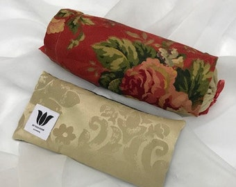 LUXURY GIFT SET - Neck Roll and Luxury Eye Pillow - Red Rose Floral Print Flax Seed Pillow  Can Warm or Cool Natural Pain Relief Unscented