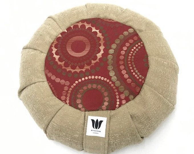 Meditation Seat, Modern Graphic Medallion, Red / Green Color, Yoga Cushion, Unique Handcrafted, Round Floor Pillow, Yoga Pillow,Natural Fill