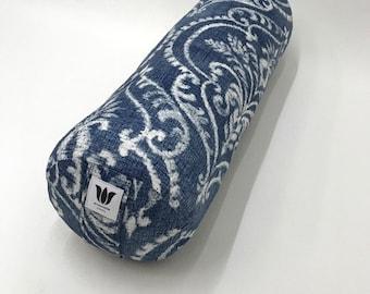 Yoga Bolster, Blue & White Damask, Restorative Yoga, Yoga Room Decor, Handcrafted, Washable Cover, Home Decor Fabric, Studio Yoga Prop