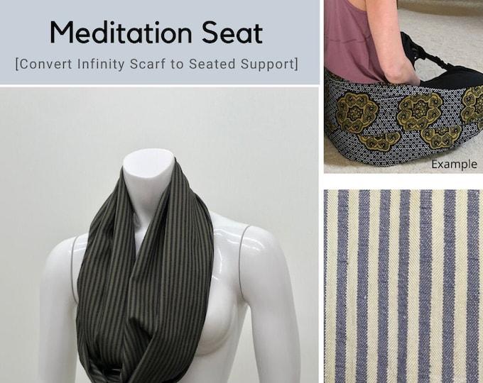 Meditation Seat, Infinity Scarf, Meditation Prop, Yoga Equipment, Blue Green Stripe, Back Support, Yoga Practice, Yoga Gift, Yoga Practice