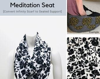 Meditation Seat, Black White Floral Print, Back Support, Yoga Practice, Yoga Prop, Lightweight Infinity Scarf, Ergonomic Support, Yoga Gift