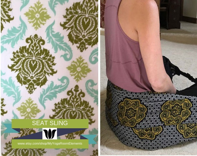 Meditation Seat from Infinity Scarf | Print Fabric | Sage & Turquoise | Yoga Prop | Seated Meditation | Back Support | Yoga Gift Idea