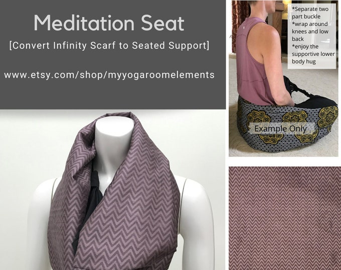 Meditation Seat Scarf, Meditation Seat, Purple Chevron Print, Yoga Back Support, Yoga Meditation Seat for Travel, Workshop, Teacher Training