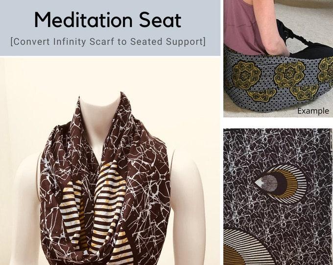 Meditation Seat, Brown / Gold / White Batik, Back Support, Yoga Teacher / Student Practice, Yoga Prop, Infinity Scarf, Ergonomic Support