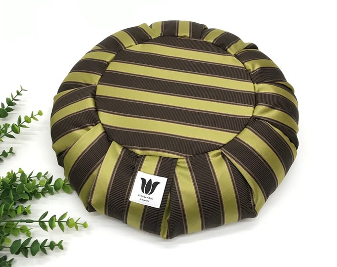 Meditation Cushion, Rich Purple Green Satin Stripe, Yoga Pillow, Zafu, Meditation Seat, Traditional Yoga Pillow, Home Yoga Practice Prop