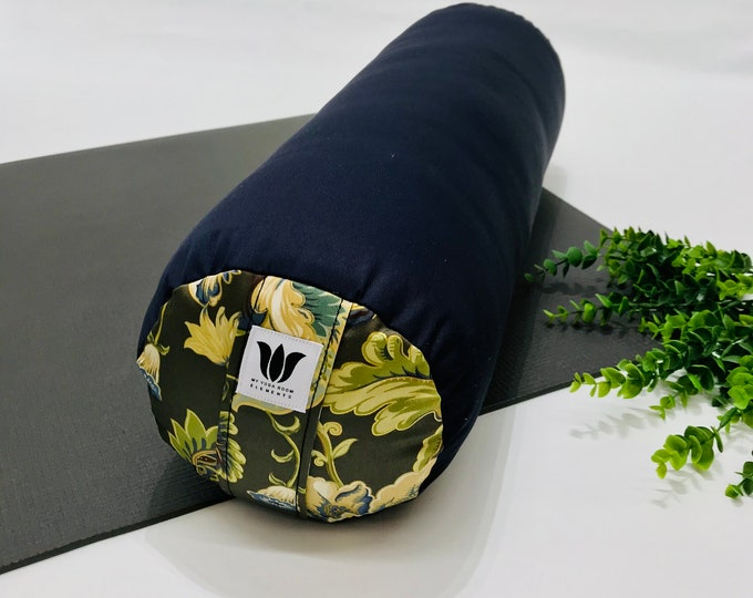 Yoga Bolster   Home Yoga Prop   Blue Canvas & Nature Floral Print Fabric   Yoga At Home   Home Yoga Decor   Round Bolster   Yoga Props