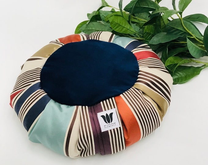 Meditation Cushion, Rich Blue Plush and Satin Stripe, Yoga Pillow, Zafu, Meditation Seat, Traditional Yoga Pillow, Home Yoga Practice Prop