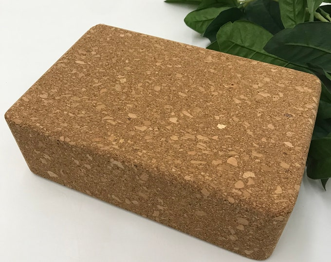 "Yoga Block   Yoga Brick   Compressed Cork   One 3"" x 6"" x 9"" Block   Home Yoga Practice   Yoga Studio Practice Prop   Yoga Support Prop"
