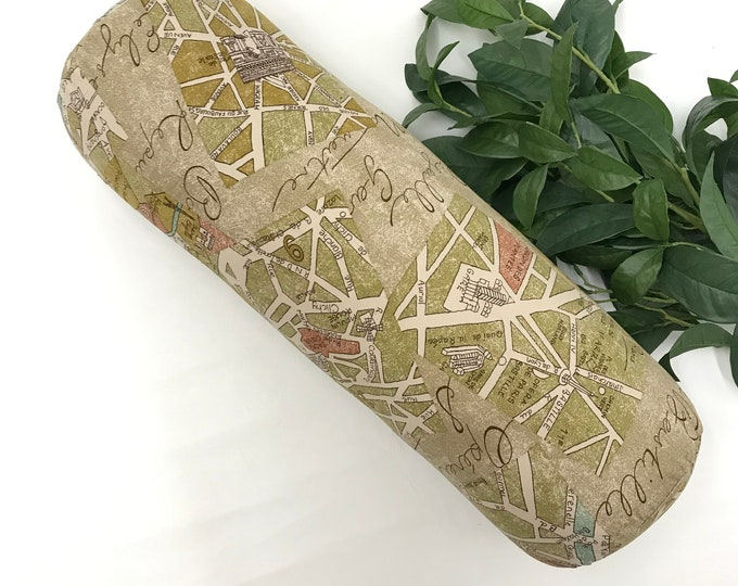 Yoga Bolster, Soft Green Yellow Canvas Cotton, Restorative Yoga, Home Yoga Prop, Removable Cover, Yoga Pillow, Yoga Prop, Made In Canada