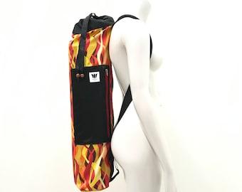 Yoga Mat Bag, Red / Orange Graphic Print, Zipper, Top or Side Load, Drawstring and Zipper, Side Pocket, Adjustable Strap, Mat Bag Carrier