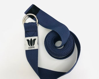 """Yoga Strap, 9 Foot Length, 1 1/2"""" Wide, Easy Adjust Heavy Gauge D Rings, BLUE, Soft Non-Slip, 22 mm Thickness, Stretch Strap, Made in Canada"""