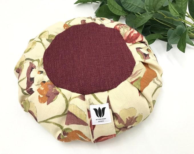Meditation Cushion, Spring Floral, Linen & Plush Yoga Pillow, Zafu, Meditation Seat, Tradtional Buckwheat Pillow, Home Yoga Product Supply