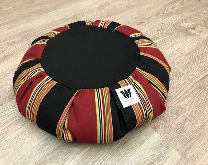 Meditation Seat, Multi-Functional, Home or Yoga Studio, Buckwheat Pillow / Cushion, Black / Red / Gold Stripe Home Decor Fabric, Handcrafted