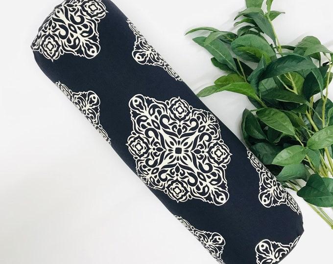 Yoga Bolster, Navy Blue White Modern Graphic, Natural Cotton Fabric, Yoga Pillow, Round Yoga Bolster, Home Yoga Practice, Yoga Studio Prop