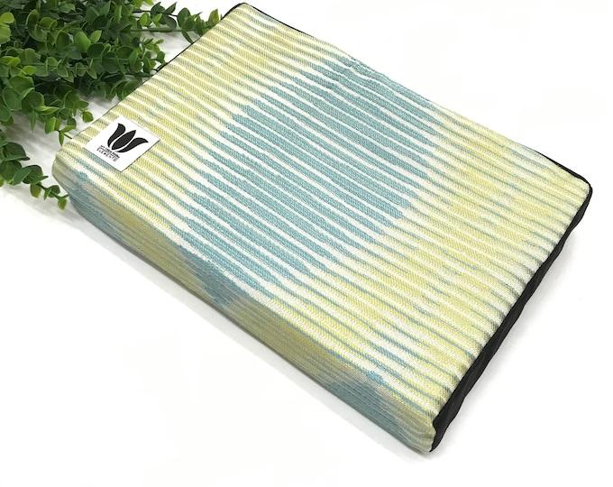 "Yoga Block ~ Yoga Brick ~ Blue Green, Modern Graphic Fabric Covered Yoga Block ~ 2"" Medium Density Foam ~ Knee Cushion ~ Yoga Prop & Support"