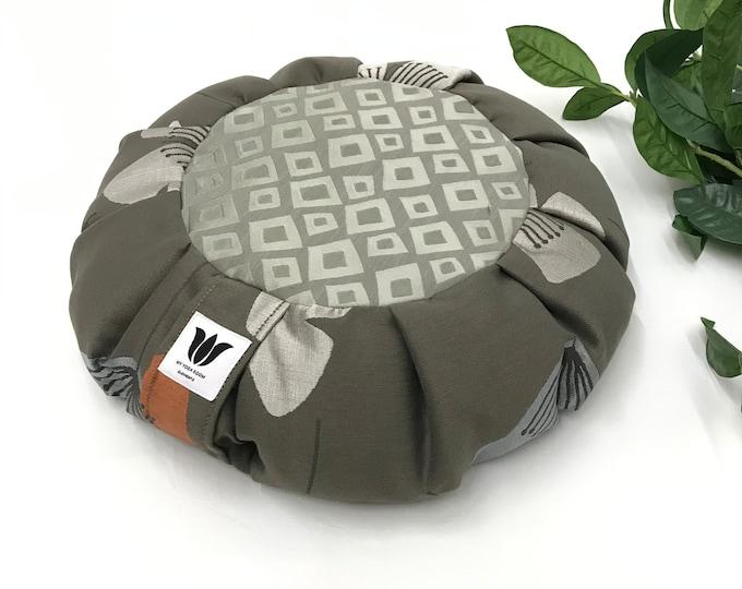 Meditation Seat, Grey Modern Fabric, Yoga Bolster, Multi-Functional, Yoga Studio Prop, Buckwheat Pillow Cushion, Made in Canada, Unique OOAK