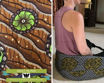 Meditation Seat, Brown / Bronze / Green Batik, Back Support, Yoga Teacher / Student Practice, Seat Sling, Infinity Scarf, Meditation Room