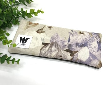 Luxury Eye Pillow | Unscented Eye Bag | Natural Flax Seed | Linen & Bamboo Fabric | Yoga Prop | Yoga Gift | Floral Print | Cool or Warm Pack