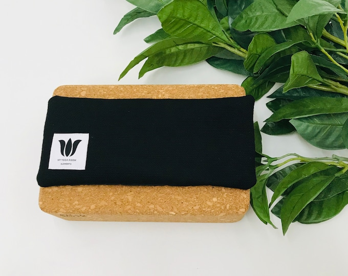 Black Luxury Eye Pillow | Eye Shade | Natural Fill | Yoga Prop | Yoga Gift Idea | Cold / Warm Pack | UNSCENTED | Bamboo & Canvas Fabric