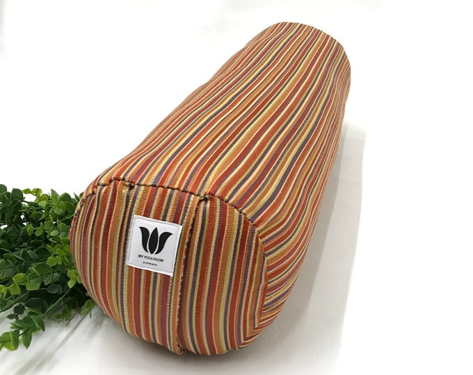 YOGA BOLSTER, Restorative Yoga Pillow, Bright Color Fabric, Removable Cover, Stripe Print, Handcrafted, YOGA Room Decor, Yoga Studio Prop