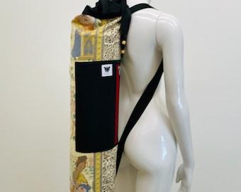 Yoga Mat Bag, Asian Print, Zip Closure, Side Load Zipper, Top Loading Bag, Drawstring, Zip Side Pocket, Adjustable Strap, Mat Bag Carrier
