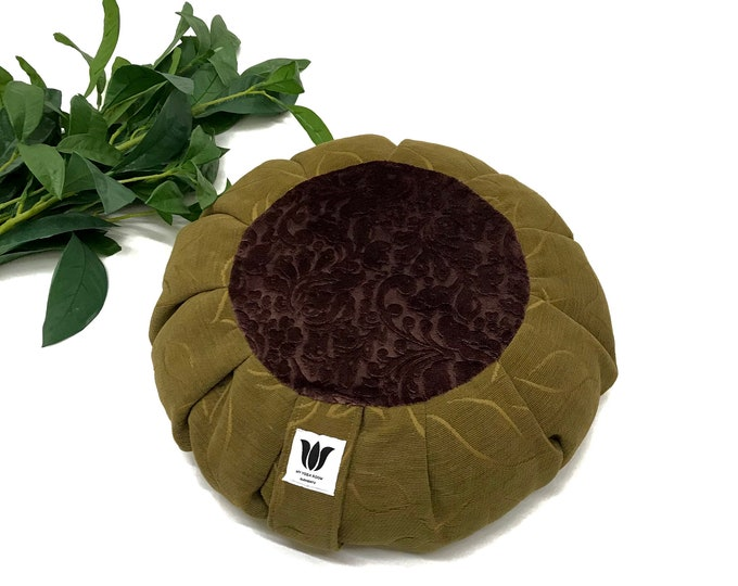 Meditation Seat, Carmel Brown and Rich Purple Plush Designer Fabric, Meditation Pillow, Yoga Floor Cushion, Yogi Crafted Meditation Pillow