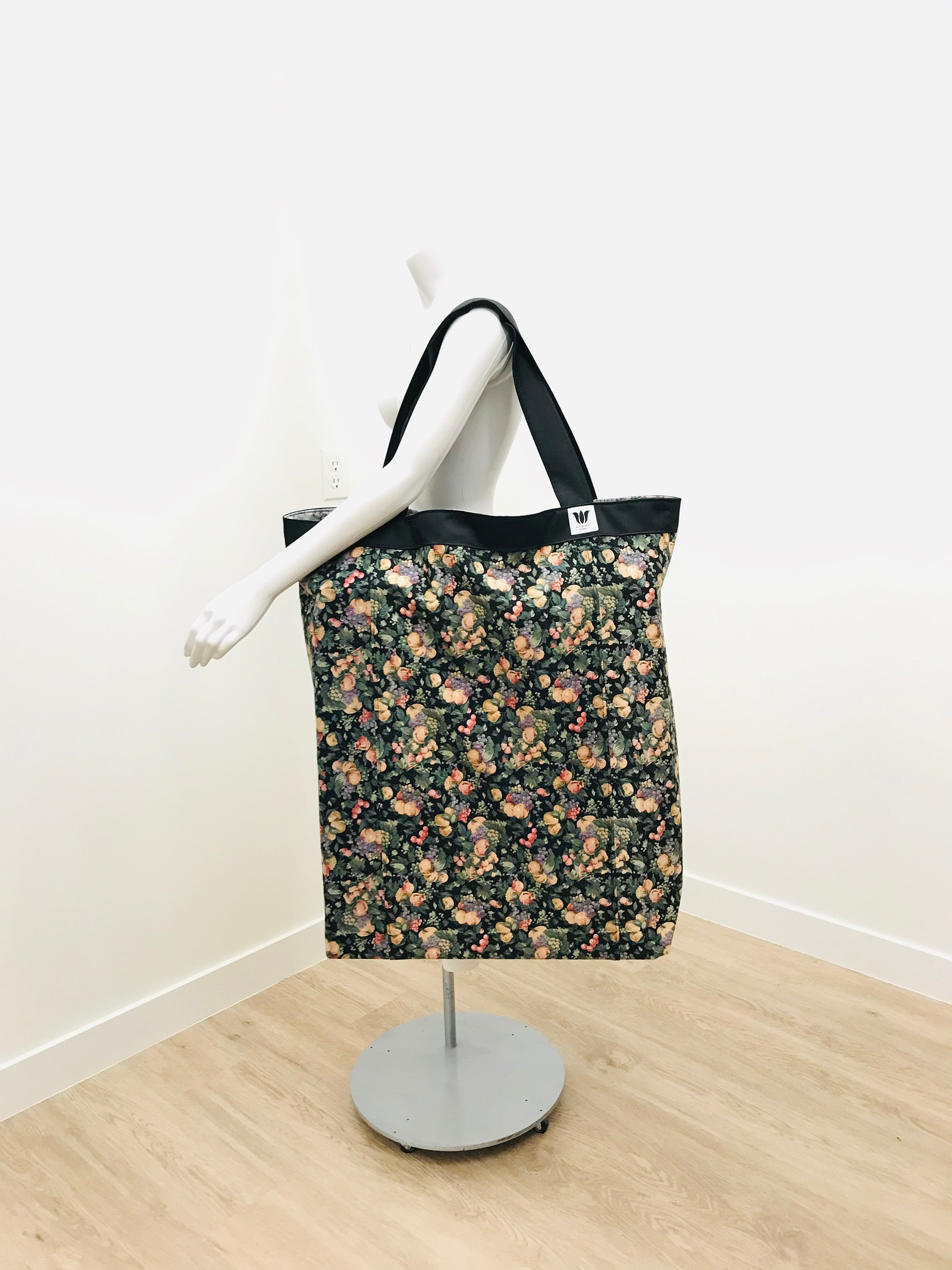 Yoga Bag Extra Large Yoga Tote Yoga Prop Bag Black Flora Printl Yoga Prop Storage Yoga Organization Large Yoga Bag Large Tote