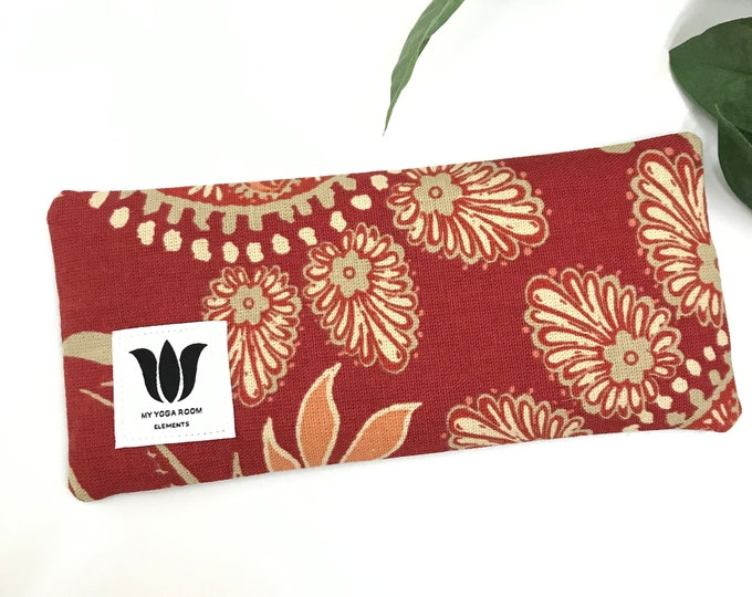 Luxury Eye Pillow, Red Paisley Print, Natural Cotton & Soft Black Bamboo Fabric, Eye Shade, Yoga Prop, Spa Gift, Natural Eye Care, UNSCENTED