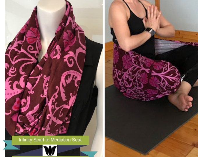 Meditation Seat from Infinity Scarf, Floral Scroll, Raspberry & Pink, Yoga, Seated Meditation, Back Support, Yoga Teacher Gift, For A Yogi