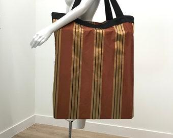 Extra Large Yoga Mat Bag | Yoga Prop Bag | Burnt Orange Stripe | Yoga Prop Storage | Solid Construction| Washable Yoga Mat Bag | Lightweight