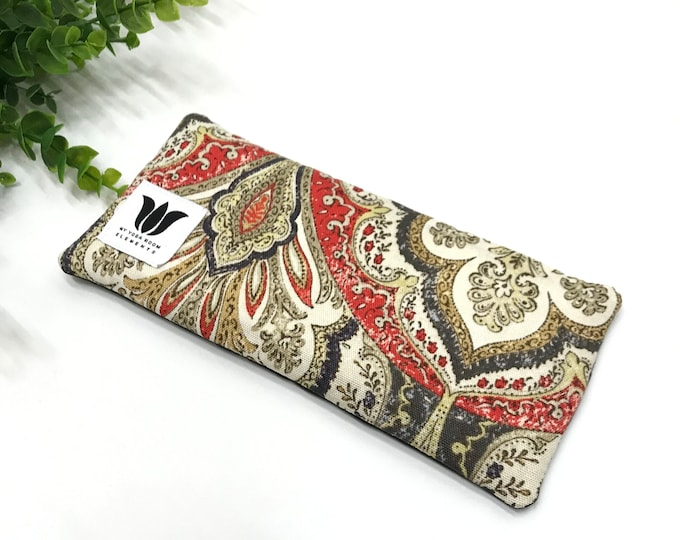 Boho Bright Damask Print, Luxury Eye Pillow, Soft Bamboo Fabric, Soothing Weighted Eye Compress, Yoga Meditation Prop, Made in Canada