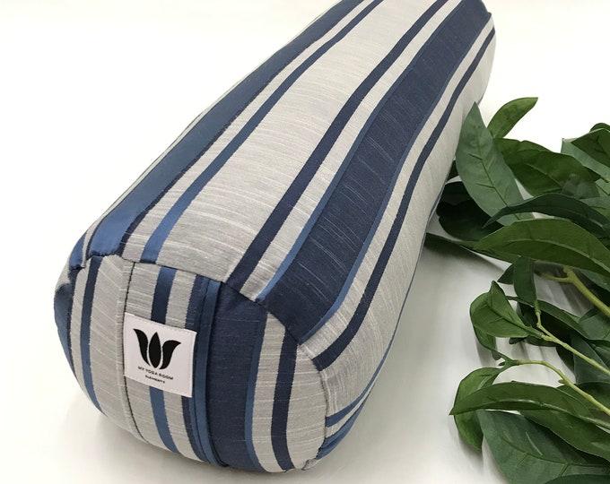 YOGA BOLSTER | Restorative Yoga Pillow | Blue Grey Stripe | Removable Cover | Home Yoga Prop | YOGA Room Decor | Round Yoga Cushion