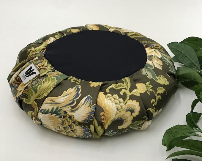 Meditation Seat, Zafu, Yoga Pillow, Yoga Cushion, Mindful Practice, Blue & Green Floral Leaf Fabric, Round Floor Pouf, Meditation Practice